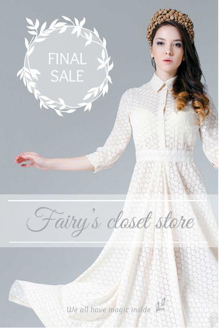 Clothes Sale Woman in White Dress Tumblr Modelo de Design