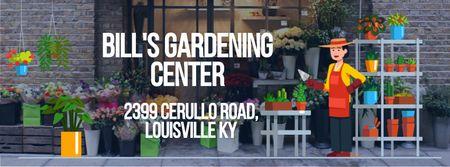 Ontwerpsjabloon van Facebook Video cover van Florist Studio Ad with Gardener Working