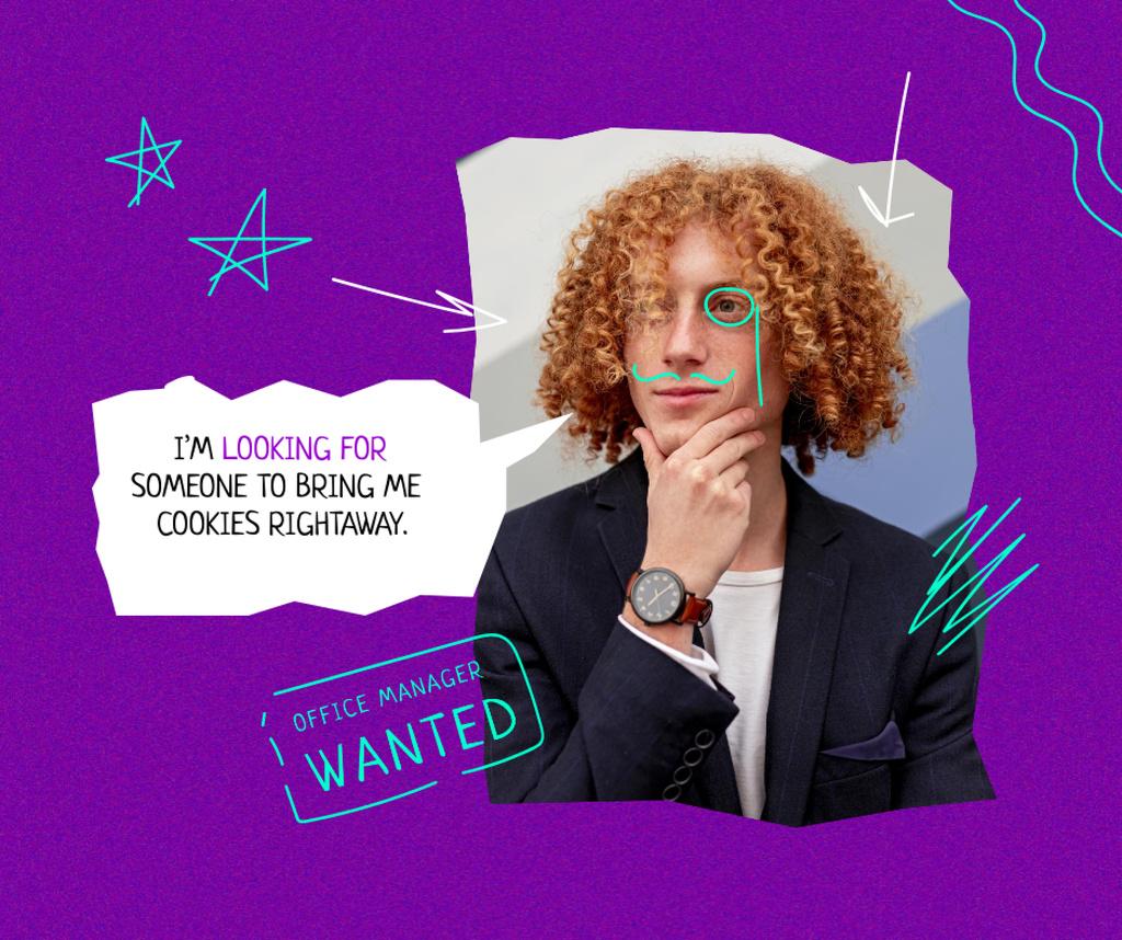 Funny Man with Drawn Moustache Facebook – шаблон для дизайна