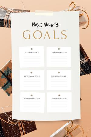 Modèle de visuel New Year's Goals with Gift boxes - Pinterest