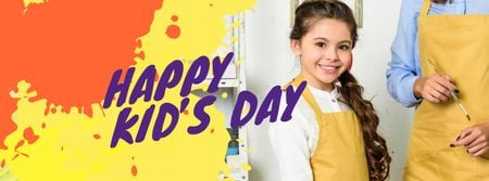 Children's Day Announcement with Smiling Kid Facebook cover Modelo de Design