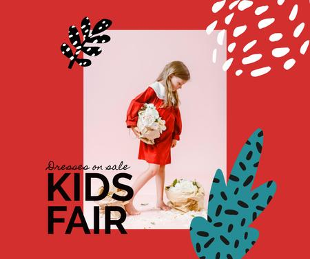 Kids Fair Announcement with Little Girl and Flowers Facebook Design Template