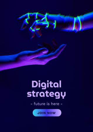 Modèle de visuel Digital Strategy Ad with Human and Robot Hands - Poster