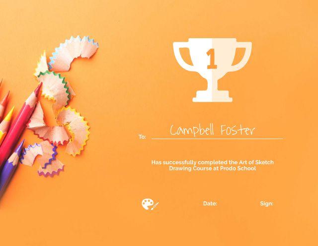 Art Course Completion award with Colorful Pencils Certificate Modelo de Design