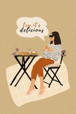 Ontwerpsjabloon van Pinterest van Woman sitting at Cafe Table