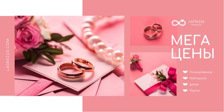 Wedding Store Promotion with Rings and Envelope in Pink Twitter – шаблон для дизайна