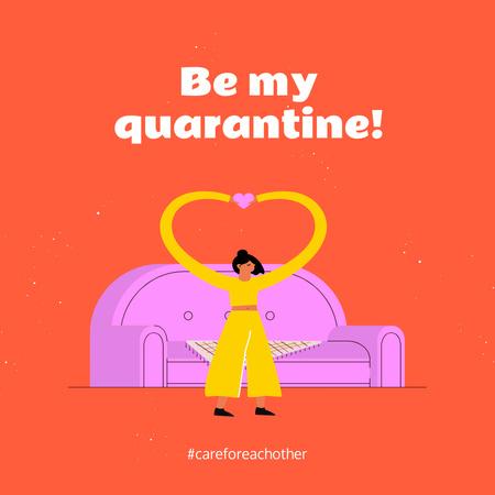 Designvorlage Quarantine concept with Woman Showing Heart by sofa für Instagram