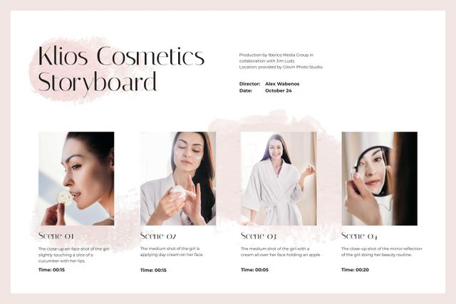 Woman taking care of her Skin Storyboard Design Template