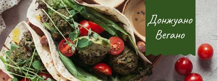 Restaurant menu offer with vegan dish Facebook cover – шаблон для дизайна