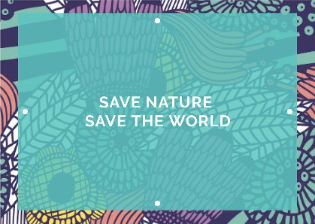 Citation about saving the nature Card Tasarım Şablonu
