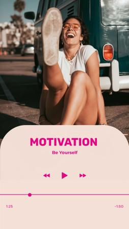 Motivational Phrase with Happy Young Woman Instagram Story Modelo de Design