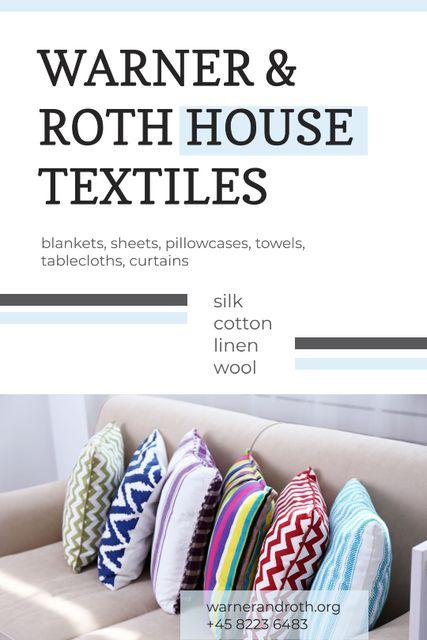 Home Textiles Ad Pillows on Sofa Tumblr Design Template