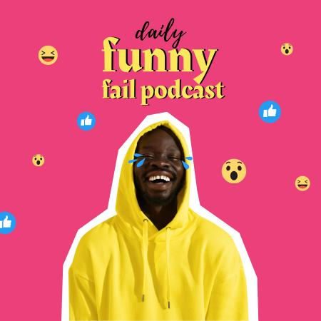 Comedy Podcast Announcement with Funny Man Podcast Cover Tasarım Şablonu