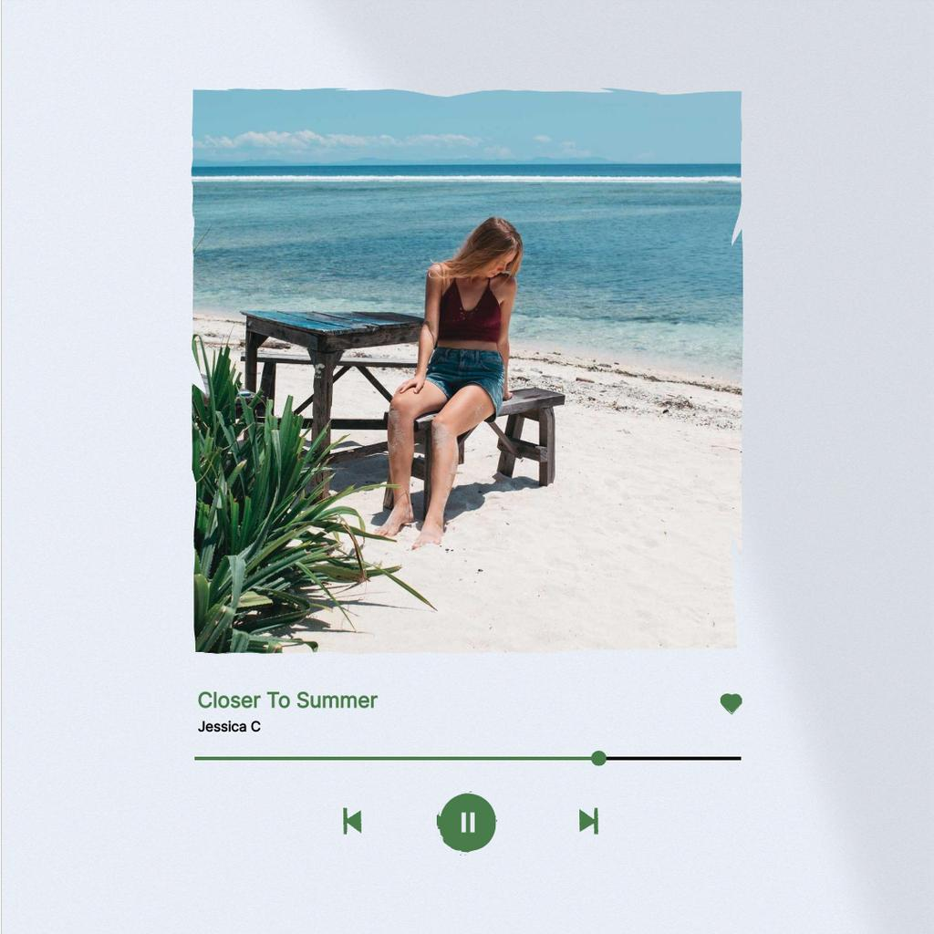 Summer Inspiration with Girl on Beautiful Beach Instagram Design Template