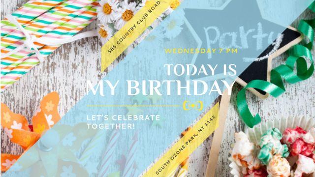 Birthday Party Invitation Bows and Ribbons Title – шаблон для дизайна