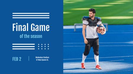Plantilla de diseño de Football Match Announcement with Player holding Ball FB event cover