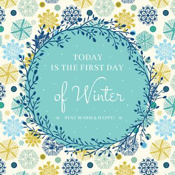 First day of Winter Greeting with Colourful Snowflakes