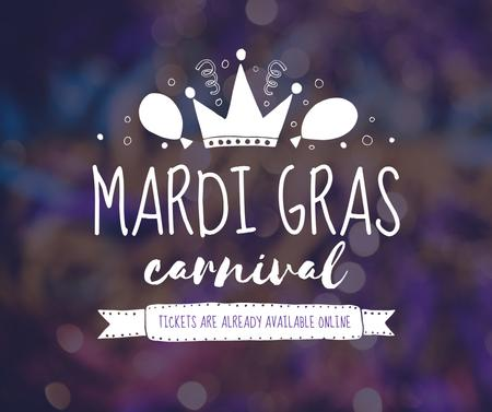 Mardi Gras carnival crown Facebook Design Template