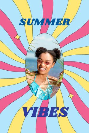 Summer Inspiration with Cute Young Girl Pinterest Design Template