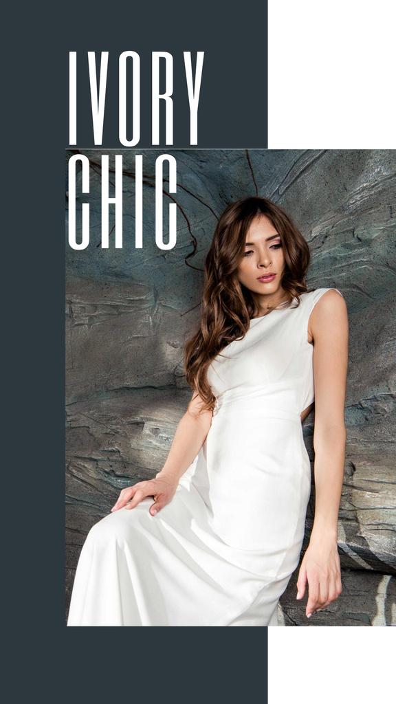 Young Woman in Tender white Dress Instagram Story – шаблон для дизайна