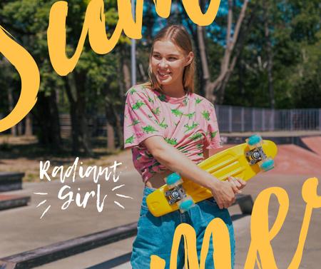Plantilla de diseño de Cute Girl holding Skateboard Facebook