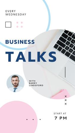 Business Talk Announcement with Confident Businessman Instagram Story Modelo de Design