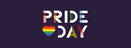 Modèle de visuel Pride Day Announcement with Rainbow Heart - Facebook cover