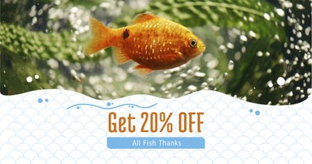 Template di design Golden Fish swimming Underwater Facebook AD