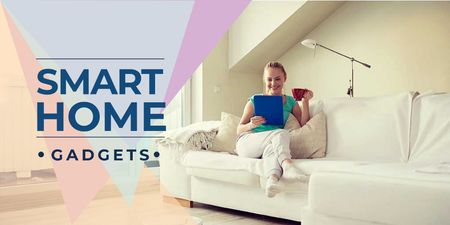 Plantilla de diseño de Smart Home Technology with Woman Using Tablet Twitter