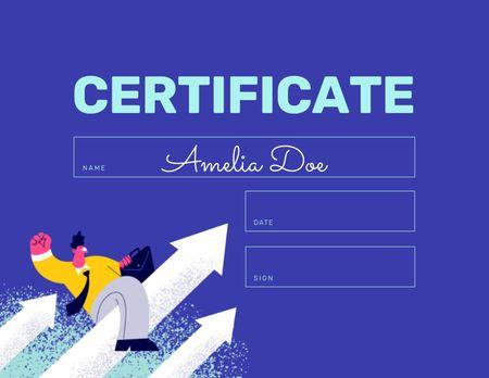 Ontwerpsjabloon van Certificate van Business Achievement with Businessman on increasing Arrow