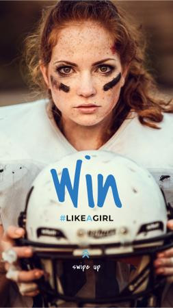 Ontwerpsjabloon van Instagram Story van Girl playing american football