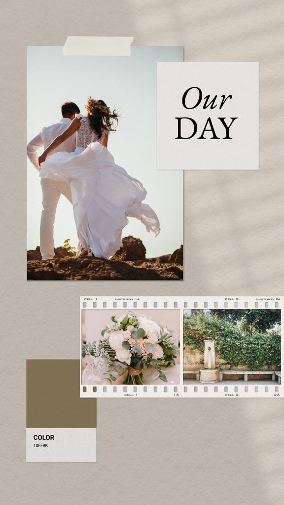 Happy Couple celebrating Wedding on Nature Instagram Story Πρότυπο σχεδίασης