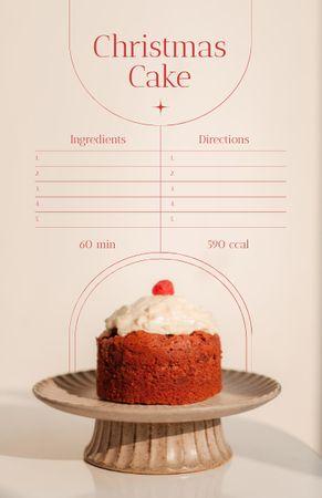 Delicious Festive Christmas Cake Recipe Card – шаблон для дизайна