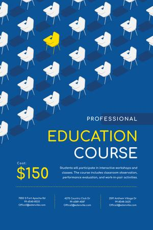Education Course Promotion with Desks in Rows Pinterestデザインテンプレート