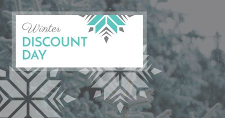 Winter Discount Day Offer with Snowflakes Facebook AD Πρότυπο σχεδίασης