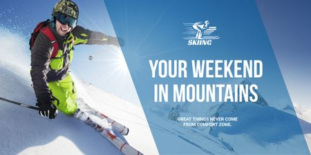 Weekend in mountains advertisement Image – шаблон для дизайну