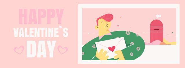 Happy Man sending Valentine's Day Letter Facebook Video cover – шаблон для дизайну