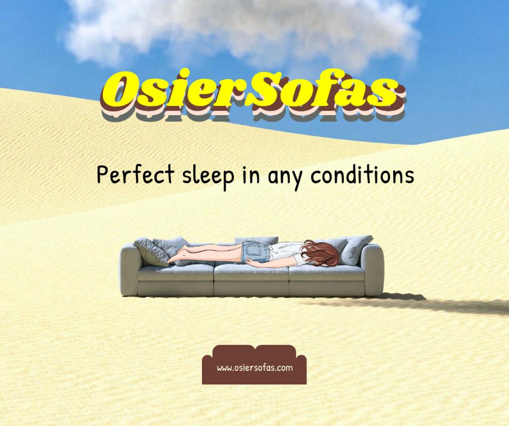 Plantilla de diseño de Funny Illustration of Sofa in Desert Facebook