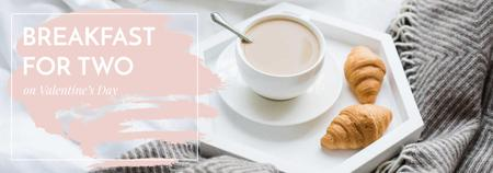 Template di design Valentines Breakfast with Coffee and croissants Tumblr