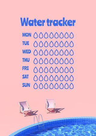 Modèle de visuel Water Tracker with Sun Loungers by Pool - Schedule Planner