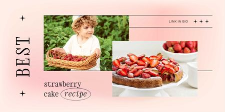 Strawberry Cake Ad with Cute Kid holding Berries Twitter Modelo de Design