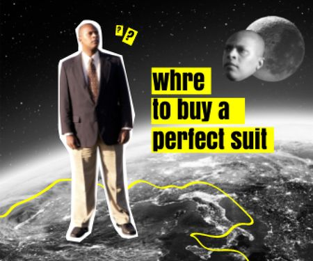 Funny Curious Man standing on Planet Large Rectangle – шаблон для дизайну