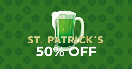 Ontwerpsjabloon van Facebook AD van St. Patrick's Day Offer with Beer