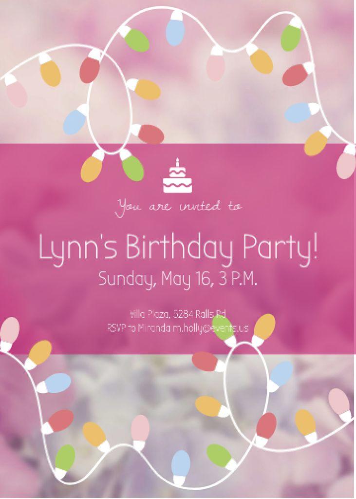 Designvorlage Birthday Party Garland Frame in Pink für Invitation