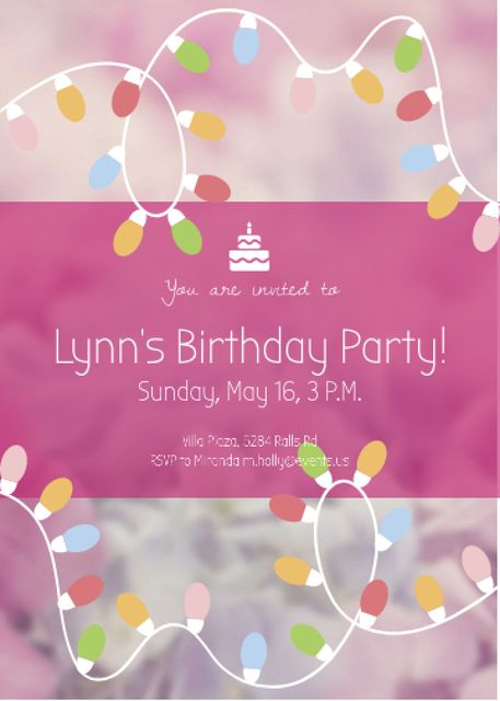 Ontwerpsjabloon van Invitation van Birthday Party Garland Frame in Pink