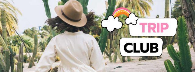 Plantilla de diseño de Travel Blog Promotion with Woman in Straw Hat Facebook cover