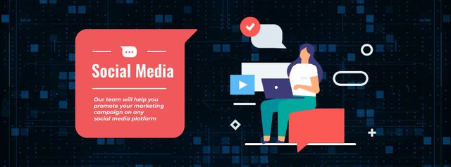 Designvorlage Woman working on laptop on social media für Facebook Video cover