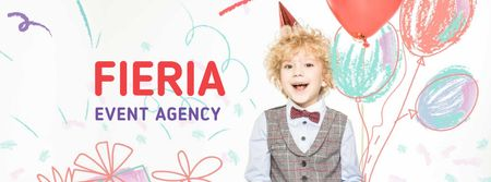 Event Agency Services Offer with Cute Kid Facebook coverデザインテンプレート