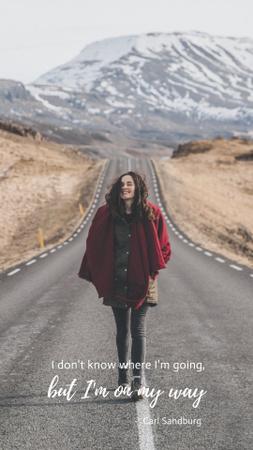 Plantilla de diseño de Inspirational Citation with Woman Tourist Instagram Story