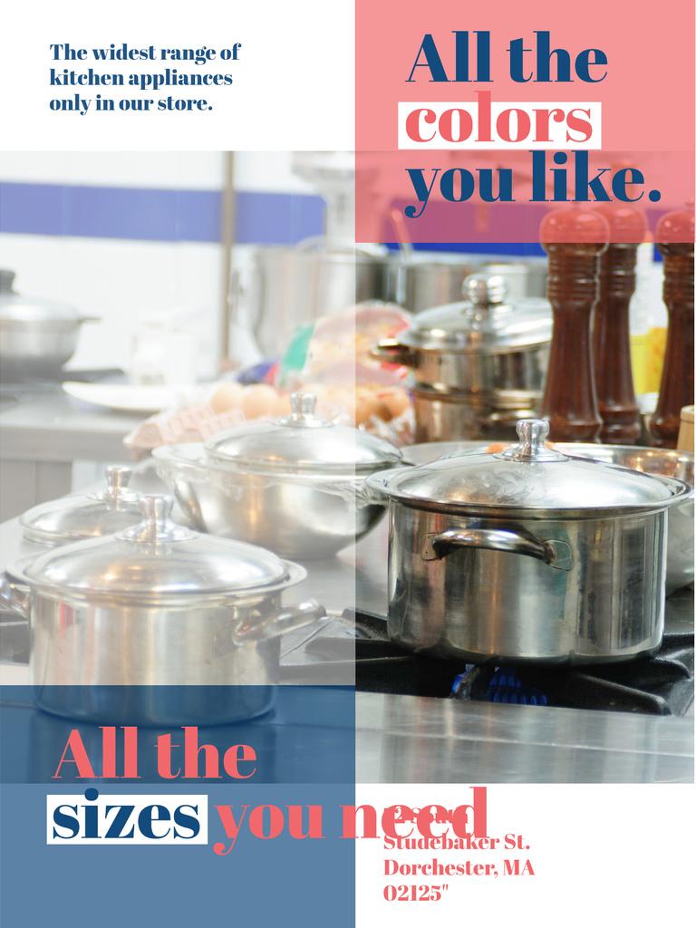 Kitchen Utensils Store Ad Pots on Stove Poster US – шаблон для дизайна